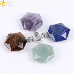 Wholesale faceted necklace - CSJA Faceted Stars Hexagon Charming Necklace Pendants for Men & Women Healing Balance Reiki Natural Stone Green Jade Fashion Jewelry E643 A
