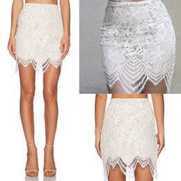 Wholesale Upscale Embroidery - Summer Explosion models Fashion Skirt Elegant Upscale White Lace Embroidery Transparent Sexy Slim Above Knee Package Hip Party