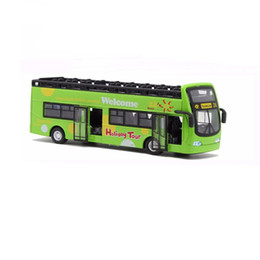 Wholesale Model Toys Buses - Double Decker Bus Sightseeing Car Toy With Sound And Light Christmas Gift For Kids Children Green or Red Color