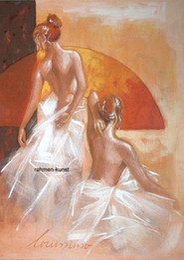Pintura a óleo menina dançando on-line-Emoldurado Louissimo: Preparação para dança erotismo menina Dança nua, retratos pintados à mão arte da parede pintura a óleo sobre tela.Tamanhos múltiplos Ab139