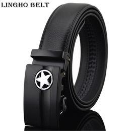 Wholesale automatic buckles leather belt - New Arrival five-pointed star black automatic belts men business luxury belt 2017 famous designer belt for men,KB-15