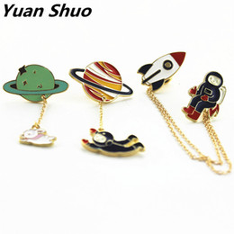 Wholesale Women Wedding Clothing - Fashion new style three style astronauts earth rabbit girl enamel animal planet brooches women badges clothes pins wholesale