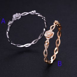Wholesale 14k Gold Thick Chain Bracelet - JaneKelly Fashion AAA cubic zirconia Flower bracelet bangle copper base with Gold-Color,thick bangle