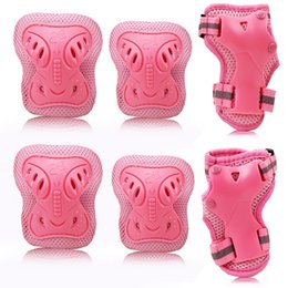 Wholesale Kids Bicycle Knee Pads - Wholesale- THICKEN 6pcs set Skating Protective Gear Sets PE Elbow Pads Bicycle Skateboard Ice Skating Roller Knee Protector For Kids