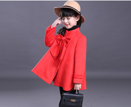 Wholesale Red Trench Jacket - Winter Baby Outwear Girl Woolen Coat Long Sleeve Big Bow Jacket Windbreaker Fashion Single-Breasted Trench Coats 7 p l