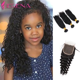 Wholesale Brazilian Lace Full Head Closure - 7A Lace Closure with Hair Bundles Brazilian Hair Weave Weft Black Color Deep Wave Wavy Human Hair Extensions Full Head Free Shipping