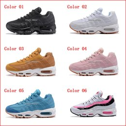 Wholesale Trainers Air Cushioning - Womens Sneakers Shoes Classic 95 Running Shoes Black Red White Sports Trainer Air Cushion Surface Breathable Sports Casual Shoes