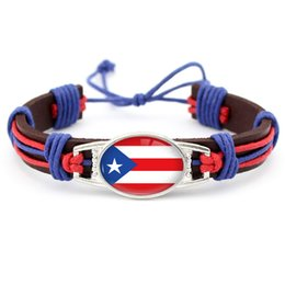 Wholesale Unisex Friendship Bracelets - Customizable Leather Bracelet Support USA American Puerto Rico Flag for Independence Day Flag of Puerto Rico Punk Friendship Jewelry