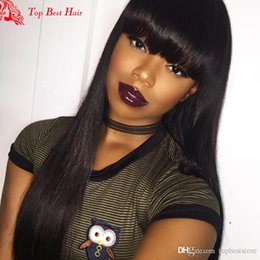 Wholesale Lace Front Chinese Bangs - Human Hair Wigs With Bangs Virgin Peruvian Hair Glueless Lace Front Wigs With Baby Hair Natural Straight Full Lace Wig With Bangs