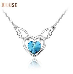 Wholesale Swarovski Elements Hearts - European and American fashion jewelry color using SWAROVSKI Elements Crystal Necklace Heart Angel Pendant wholesale