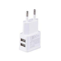 Wholesale 5v 2a Power Supply Usb - 5V 2A Portable Two Port USB Travel Home Wall Charger EU Plug Mobile Phone USB Power Supply Adapter For Samsung Iphone