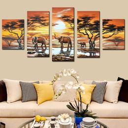 pintura a óleo abstrata paisagem africana Desconto 5 Pçs / set Não Emoldurado Pintados À Mão Da Arte Da Lona de Elefante Vivo Paisagem Africano Abstrata Moderna Da Arte Da Lona de Pintura A Óleo