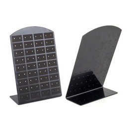 Wholesale Color Display Rack - 72 Holes Earrings Display Fashion Jewelry Packaging Display Stands Rack White Black Color Organizer Holder