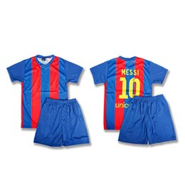 Wholesale Sport Wear Kids Boy - B Quality Kits Soccer Jersey Uniform Kids Football Tracksuit Boy Trainning Sport Wear Mess 10 Home Away