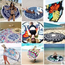 Wholesale Tablecloths Tassels - Round Mandala Beach Towel Tassel Tapestry Hippy Boho Tablecloth Bohemian Serviette Covers Beach Shawl Indian Wrap Picnic Mat CCA5655 5pcs