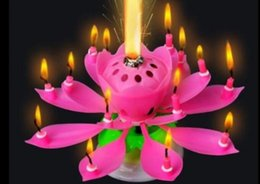 Wholesale Bougie Lampe Pas Velas Rouge Velours Decorativas Velas Beau Cadeau D anniversaire Fleur Musique Bougie Lotus Nouveau Bougies Pétale pour Fête