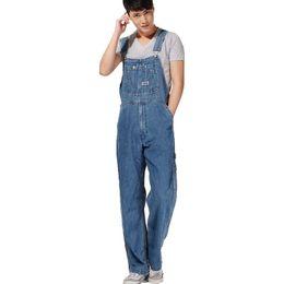 Wholesale Denim Bib Pants - Wholesale-Men's plus size overalls Large size huge denim bib pants Fashion pocket jumpsuits Male Free shipping