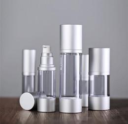 Wholesale Essence Perfume - 30ml 50ml Empty Airless Perfume Bottle Cosmetic Vacuum Flask Silver Pump Bottle Emulsion Bottle Essence Vials