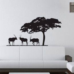 Wholesale Safari Stickers - African Safari Wall Stickers Decoration Waterproof Self Adhesive Wallpapers For Walls Removable Vinyl Wall Decals Animals Home Decor