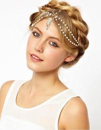 Wholesale Trendy Chain Headbands - 2018 Cheap hairband headwear headbands fashion indian Bohemian boho white red beaded headpiece women head chain hair jewelry for wedding