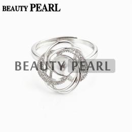 Argentina A granel de 3 piezas de configuración de anillo de perlas Diseño de lujo 925 plata esterlina Cubic Zirconia anillo floral Semi Mounts Suministro