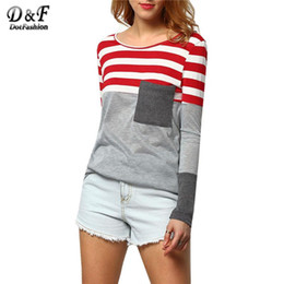 Wholesale Color Block Tee Shirts - Wholesale-2016 Womens Color Block Tee Summer Fashion Tops Casual Vintage Shirt Grey Long Sleeve Round Neck Striped Pocket T-Shirt