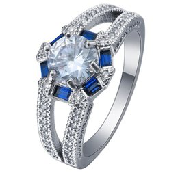 Wholesale 925 Mans Ring Sapphire - Wholesale White Topaz & Blue Sapphire Women 925 sterling silver Men Engagement Rings Jewelry Size 7.8.9 10