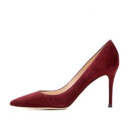 Zapatos de boda rojo oscuro online-Zandina Moda Hecha A Mano 8 cm Bombas de tacón alto Estilo simple Slip-on Puntiagudo Fiesta Zapatos de estilete de boda de noche K369 rojo oscuro