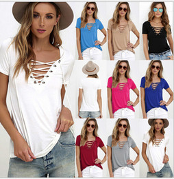 Wholesale Empire Band Dress - Bursts of Europe and the United States V collar solid color banded T-shirt large size shirt 10 color 8 yards, s-5xl