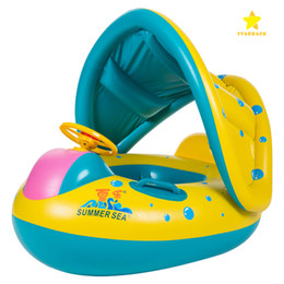 Wholesale Inflatable Canopy - Baby Pool Float with Sun Canopy Shade Inflatable Baby Swimming Floats Boat for the Baby Kids Toddlers with bag