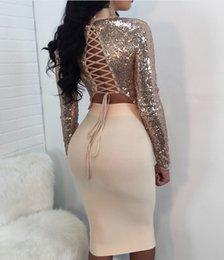 Wholesale Night Dresses Long Sleeves - Sexy sequined two-piece night club long-sleeved lace dress JZ171