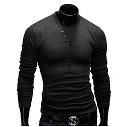 Wholesale Stitching Designs Shirts - Wholesale- T Shirt Men Brand 2016 Fashion Men'S Fake two Stitching Design Tops & Tees T Shirt Men Long Sleeve Slim T shirt Homme XXL