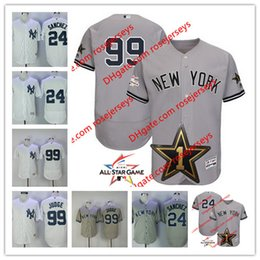 Wholesale Dry Wear - New York Yankees 2017 All-Star Game Wore Jersey #24 Gary Sanchez #99 Aaron Judge Gray White Stitched No Name Jerseys size S,3XL