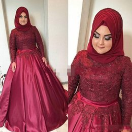 Wholesale Muslim Women Wear - Muslim Arabic Dark Red Plus Size Prom Dresses High Neck Beaded Applique Evening Gowns Long Sleeves Lace Custom Formal Party Wear Women