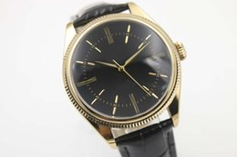 Wholesale Dual Time Gold Black - Luxury mens automatic mechanical Cellini Date Unworn 50515 yellow Gold and Dual Time watches men wristwatch black leather belt high quality