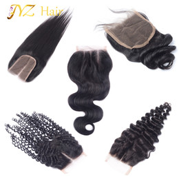 Wholesale Loose Wave Brazilian Hair - JYZ Top Closure Brazilian Peruvian Malaysian Human Hair Closure Body Wave Straight Deep Wave Loose Wave Kinky Curly 4x4 Lace Closure