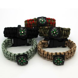 Wholesale Whistle Gear - Retail Paracord Bracelets Compass Whistle Outdoor Camping Hiking Survival Gear Rope Men Women Emergency Tools MA0266