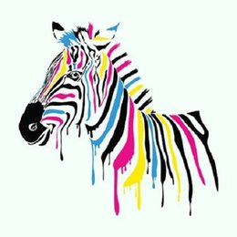 Wholesale Colorful Abstract Art Oil Paintings - Colorful Striped Zebra,Hand-painted Modern Lovely Cartoon Animals Art Oil Painting,Home Wall Decor On High Quality Canvas Multi sizes homest