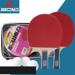 27e7164bb 2 pcs Conjunto de Raquetes De Tênis De Mesa Ping Pong Remo Longo   Curto  Punho Duplo Rosto Tênis de Mesa Conjunto De Raquete De Tênis Com 3 Bolas de  Varejo ...
