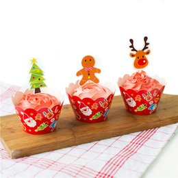 Wholesale Baking Ornament - Baking supplies Christmas xmas decoration ornaments cake insert sign Set 12 inserted card +12 Pieces cake tray Cupcake Topper JF-601