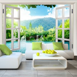 Wholesale Window Insulation Roll - Wholesale- Free Shipping 3D stereo wallpaper living room bedroom background wallpaper warm romantic fake window large mural