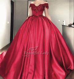 Wholesale Wonderful Short Dresses - Wonderful Ball Gown Evening Dress Boat Neck Cap Sleeve Appliques Satin Long Evening Dresses 2017 Elegant Puffy Arabic Party Gowns Cheap