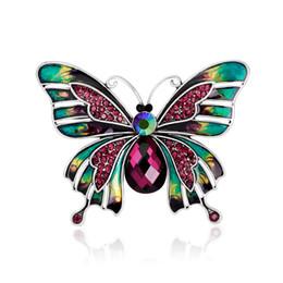Argentina Broches de esmalte Broches de diamantes de imitación de cristal Joyería de moda de nueva llegada Broches de mariposa multicolor para mujeres Regalos de Navidad Suministro