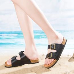 Wholesale Cork Adhesive - Men Women New Beach Cork Flip Flops Slipper Casual Summer Mixed Color Slip on Sandals Couple Flat Shoe Plus Size