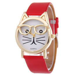 Wholesale Ladies Watch Faces - Free shipping Belt cat students watch cartoon wear glasses Lady leather face was small and pure and fresh light quartz table