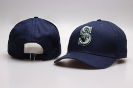 Wholesale Snapback S - 2017 NEW Men's Seattle Mariner Golf Visor Strap back Hats Navy Blue Color Embroidered S Logo Sport Adjustable Baseball Snapback Caps