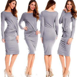 Vfemage Femmes Asymétrique Décolleté Élégant Modeste Ruché Drapé Travail Bureau Occasionnel Robe Partie Moulante Gaine Robes pure couleur sexy jupe ? partir de fabricateur