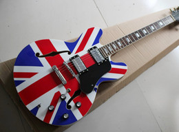 Wholesale Hollow Electric Guitar F Hole - Factory Customized Blue and Red Semi-hollow Electric Guitar with Double F Holes,Chrome Hardware,Black Pickguard,Can be changed