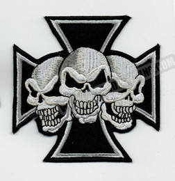 patch diy cloth Coupons - Cool Maltese Cross Devil Triple Skulls Biker Motorcyle Vest Jacket Embroidery Punk Biker Patch DIY Cloth Patch Jersey Badge Free Shipping