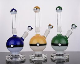 Wholesale Water Pokemon - solid base Poke ball design glass bongs with removable mouth piece water pipe with downstem 14 mm joint